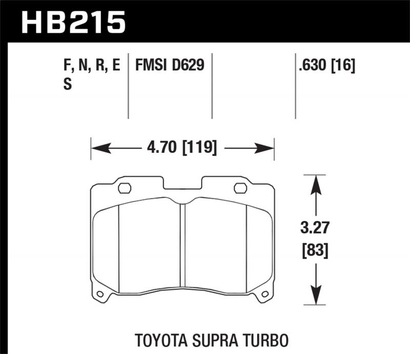 Hawk Performance Disc Brake Pad Toyota Supra Front 1993-1998 3.0L 6-Cyl - HB215F.630