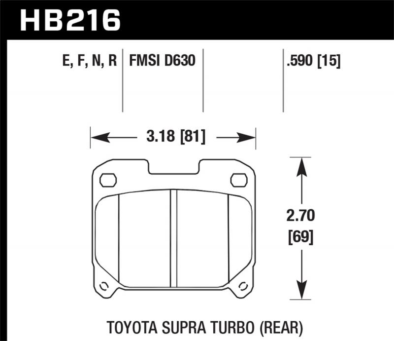 Hawk Performance Disc Brake Pad Toyota Supra Rear 1993-1998 3.0L 6-Cyl - HB216F.590