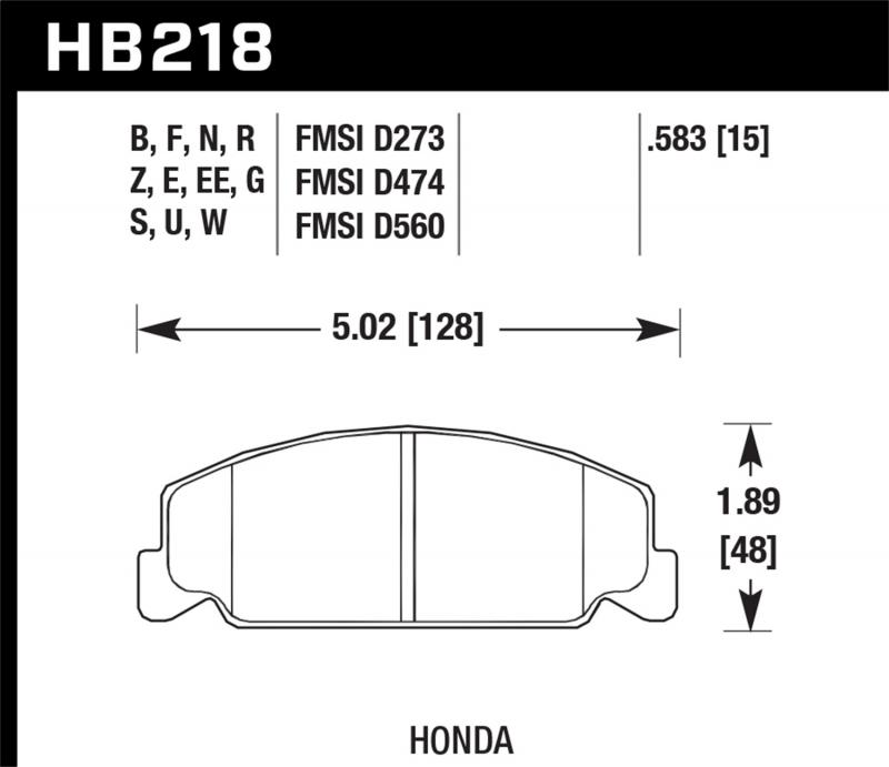 Hawk Performance Disc Brake Pad Honda Front - HB218F.583