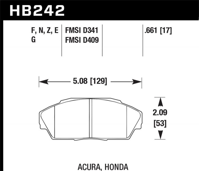 Hawk Performance Disc Brake Pad Front - HB242N.661