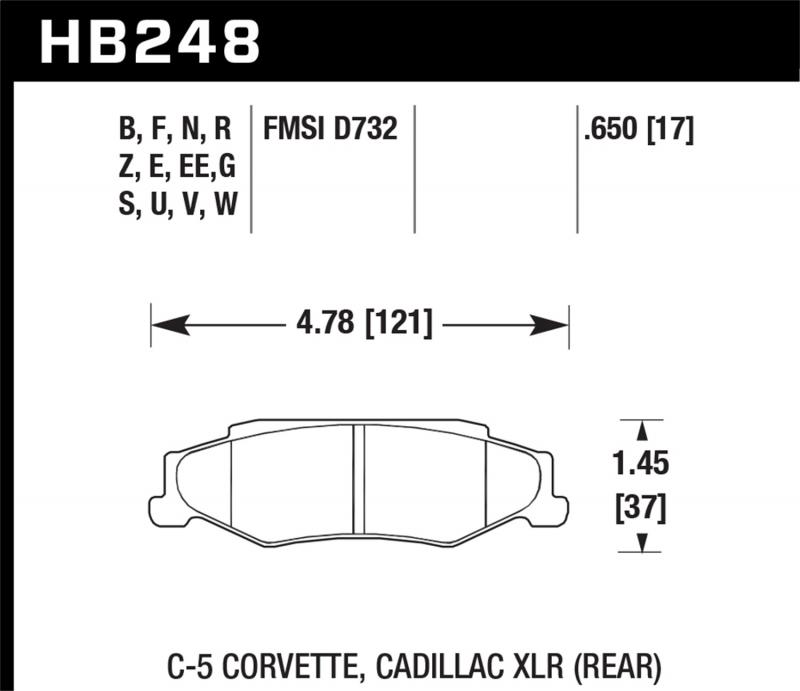 Hawk Performance Disc Brake Pad Rear - HB248F.650