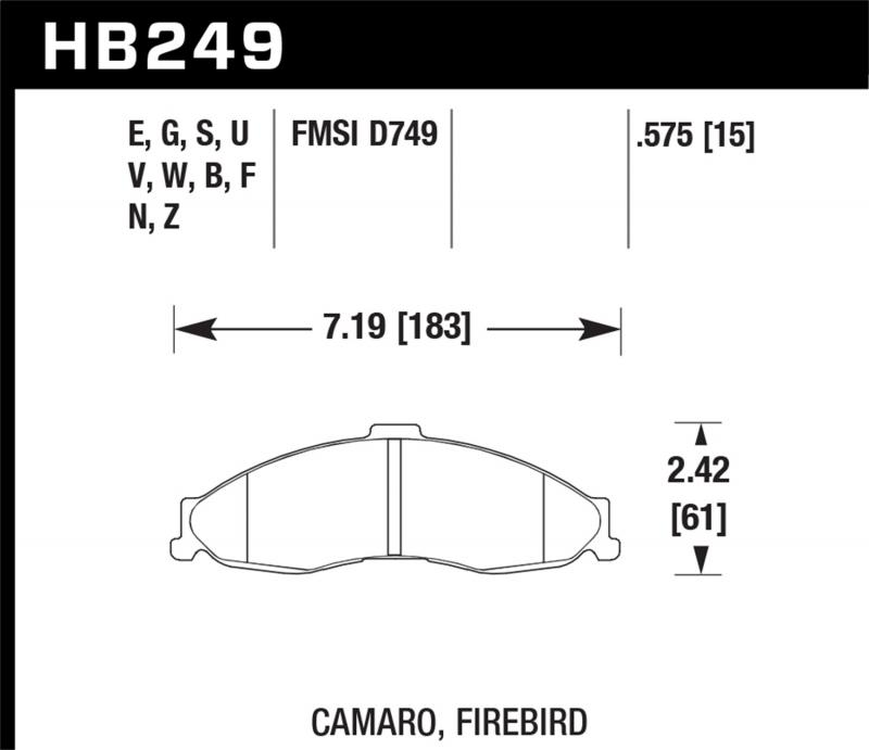 Hawk Performance Disc Brake Pad Front - HB249F.575