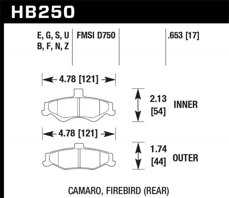 Hawk Performance Disc Brake Pad Rear - HB250F.653