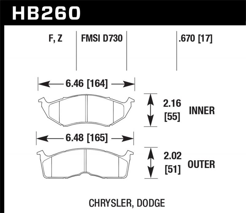Hawk Performance Disc Brake Pad Front - HB260F.670