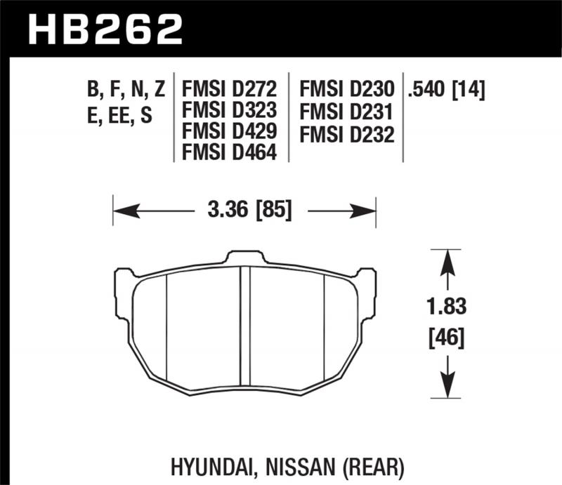 Hawk Performance Disc Brake Pad Rear - HB262F.540