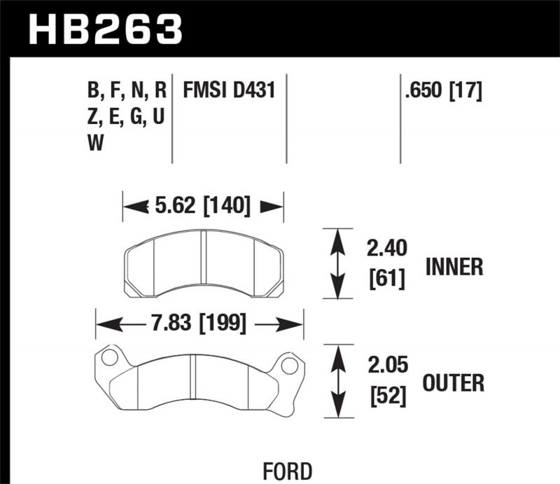 Hawk Performance Disc Brake Pad Front - HB263F.650