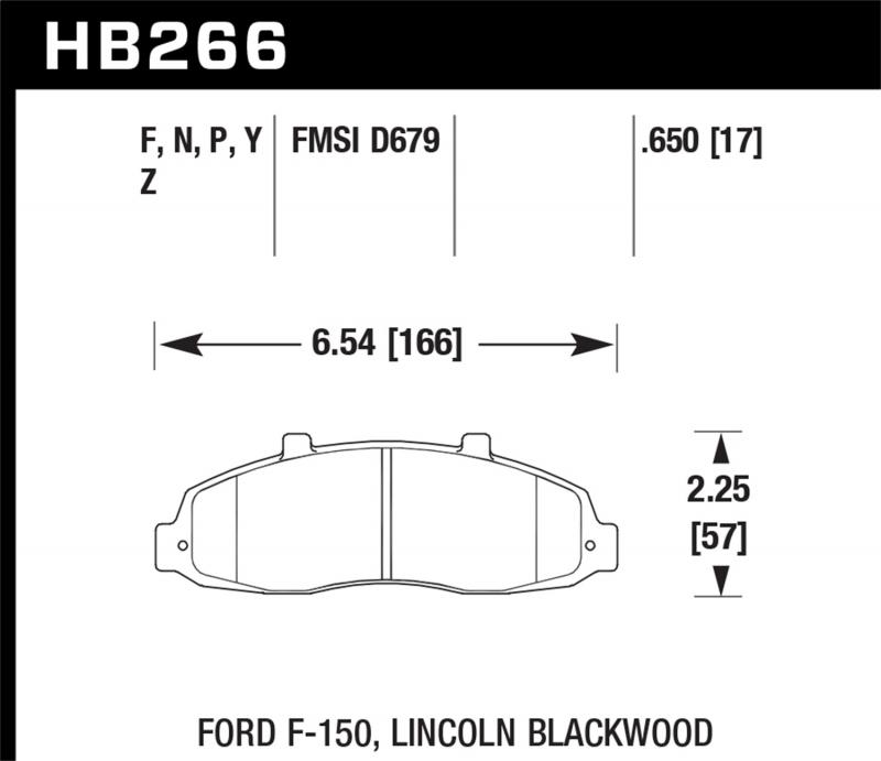 Hawk Performance Disc Brake Pad Ford F-150 Front 1997-2004 - HB266F.650