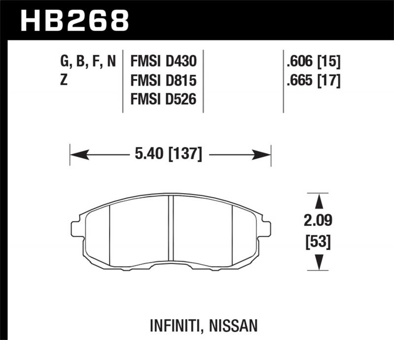 Hawk Performance Disc Brake Pad Front - HB268F.665