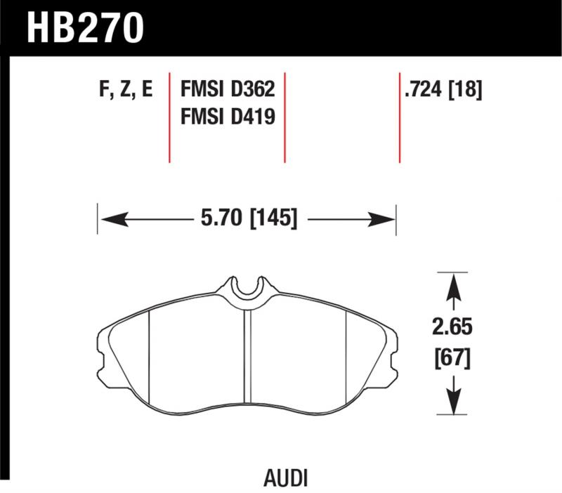 Hawk Performance Disc Brake Pad Audi Front - HB270F.724A