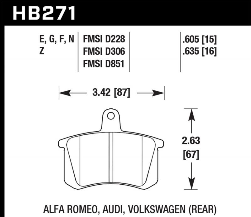 Hawk Performance Disc Brake Pad Audi Rear - HB271F.635