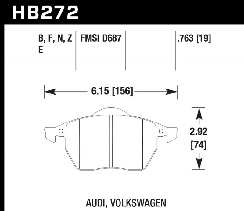 Hawk Performance Disc Brake Pad Front - HB272F.763A
