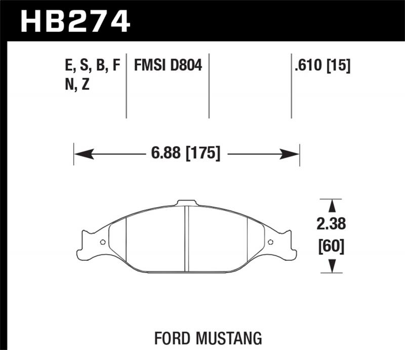 Hawk Performance Disc Brake Pad Ford Mustang Front 1999-2004 - HB274F.610