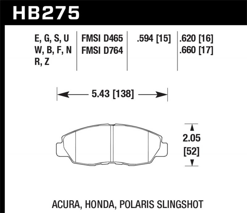 Hawk Performance Disc Brake Pad Front Honda Civic Si 98-00 - HB275F.620