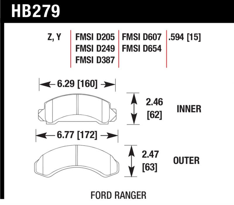 Hawk Performance Disc Brake Pad Front - HB279Y.594