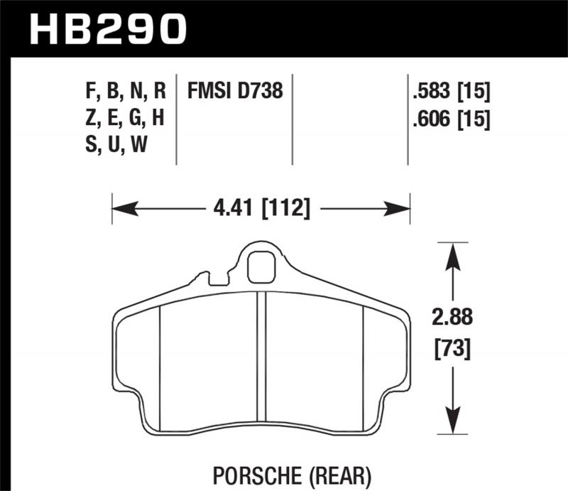 Hawk Performance Disc Brake Pad Porsche Rear - HB290F.606