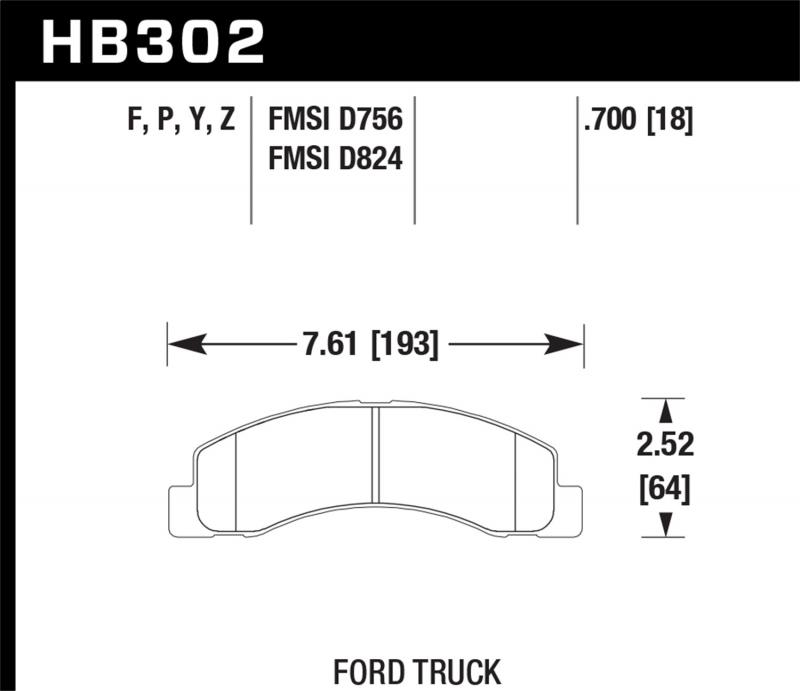 Hawk Performance Disc Brake Pad Ford Front - HB302F.700