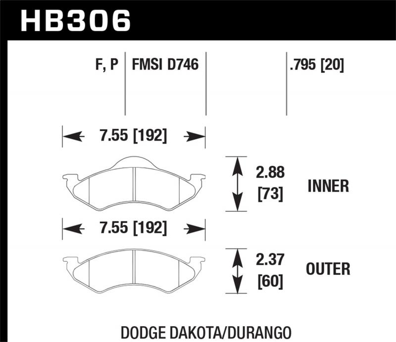 Hawk Performance Disc Brake Pad Dodge Front - HB306F.795