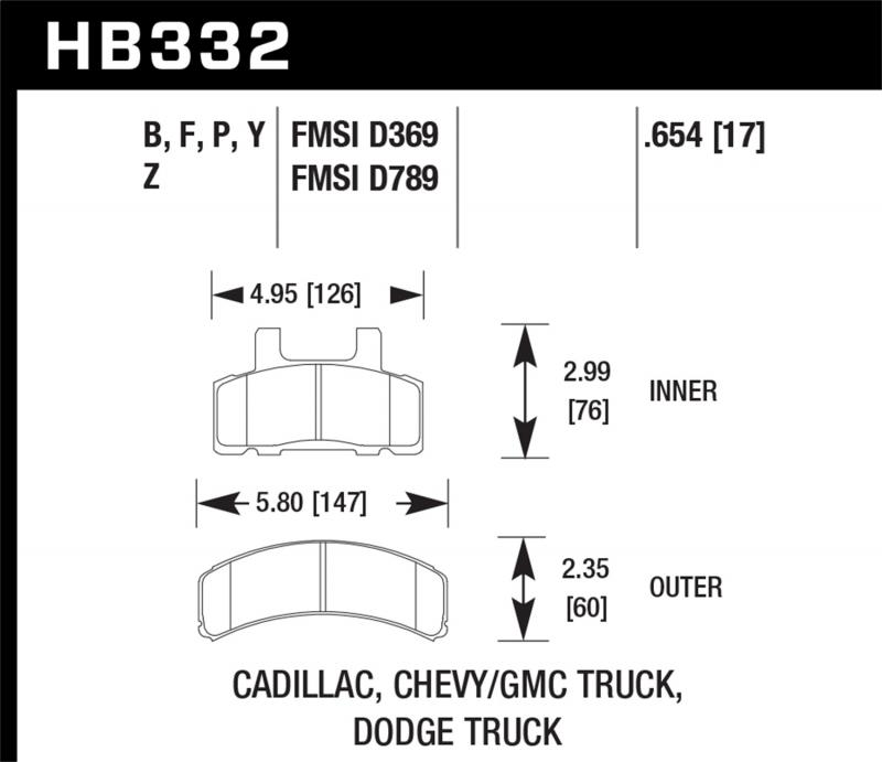 Hawk Performance Disc Brake Pad Front - HB332F.654