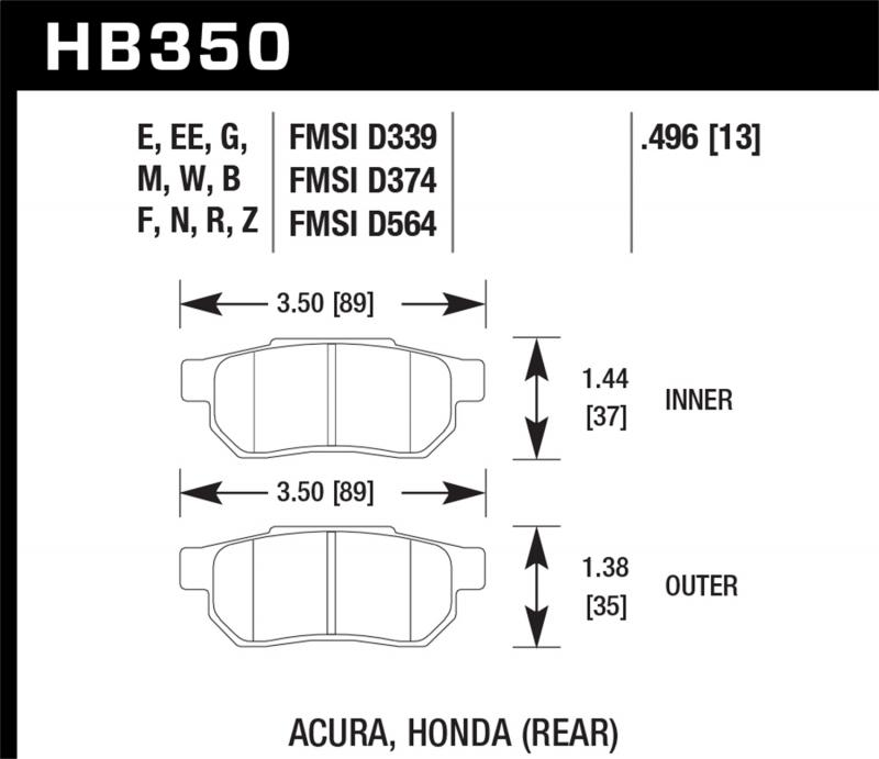 Hawk Performance Disc Brake Pad Rear - HB350N.496