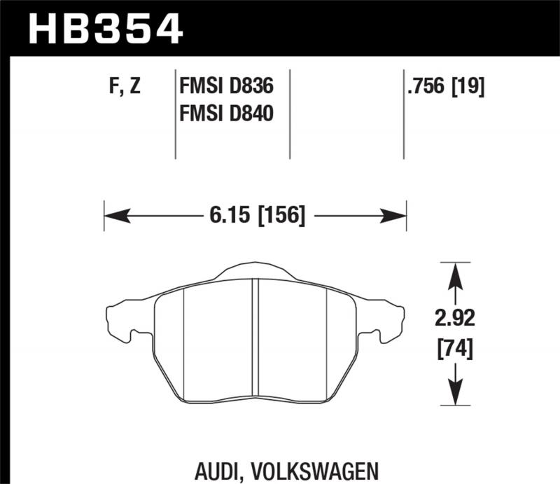 Hawk Performance Disc Brake Pad Front - HB354F.756A