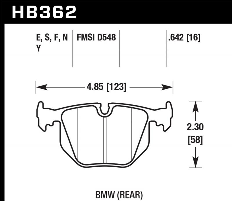 Hawk Performance Disc Brake Pad BMW Rear - HB362F.642