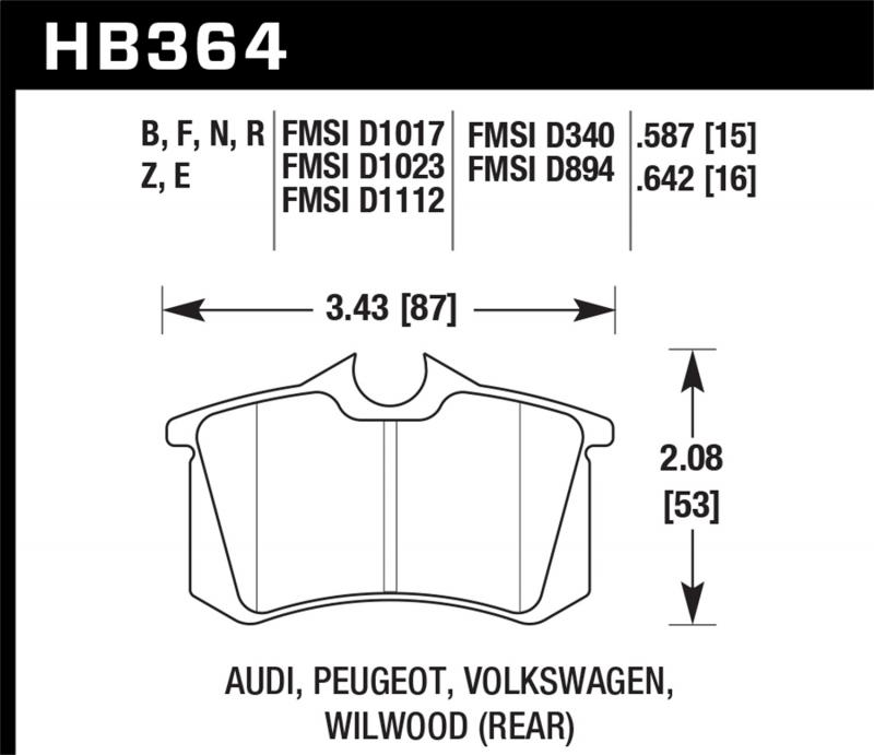 Hawk Performance Disc Brake Pad Rear - HB364F.642
