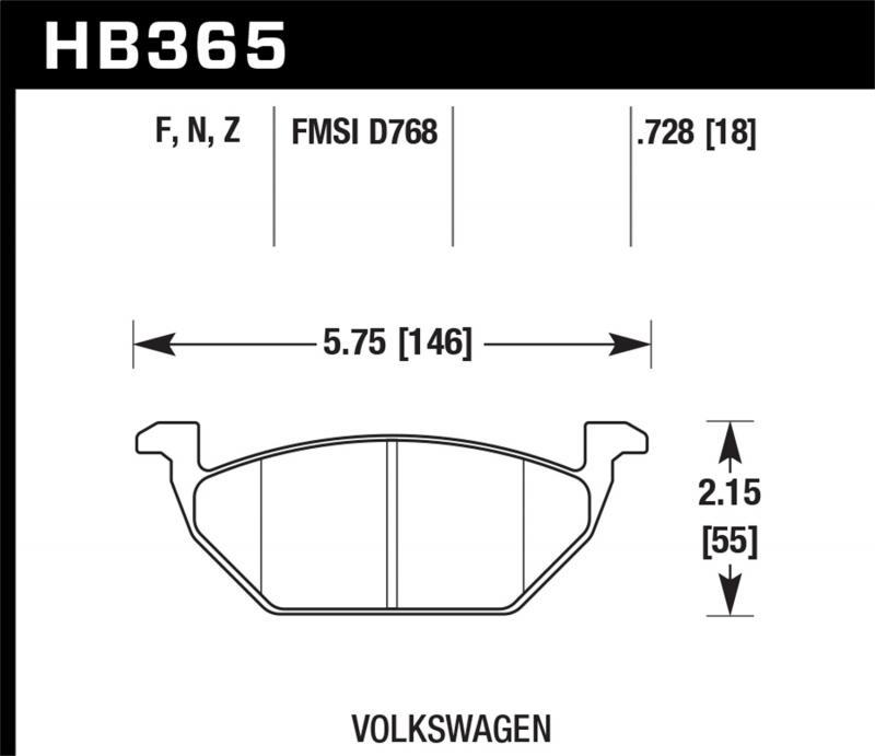 Hawk Performance Disc Brake Pad Volkswagen Front - HB365F.728