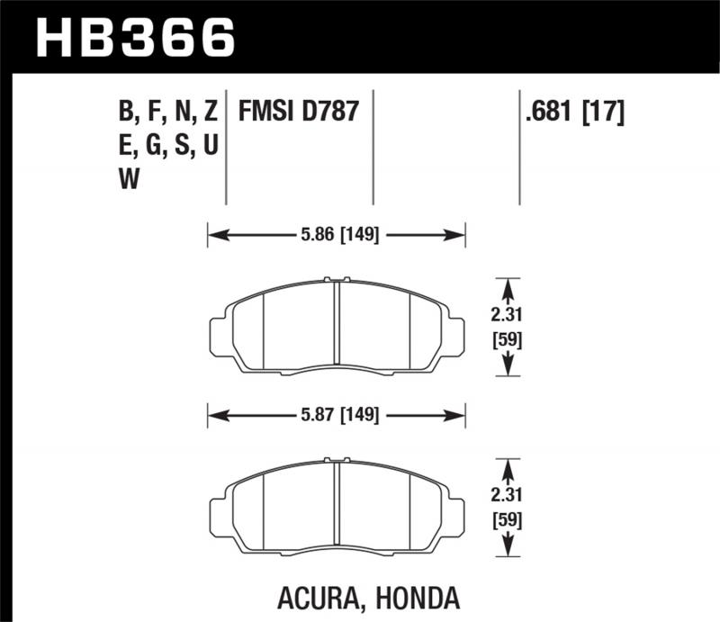 Hawk Performance Disc Brake Pad Front - HB366N.681