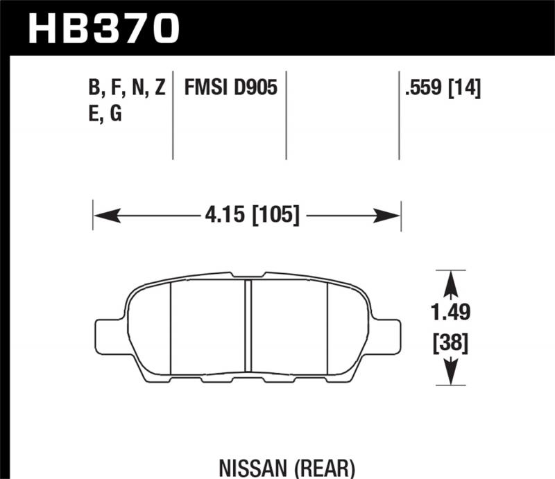 Hawk Performance Disc Brake Pad Rear - HB370F.559