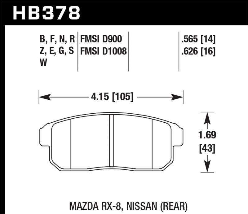 Hawk Performance Disc Brake Pad Nissan Rear - HB378F.626