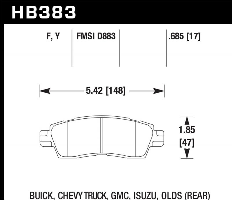 Hawk Performance Disc Brake Pad Rear - HB383F.685