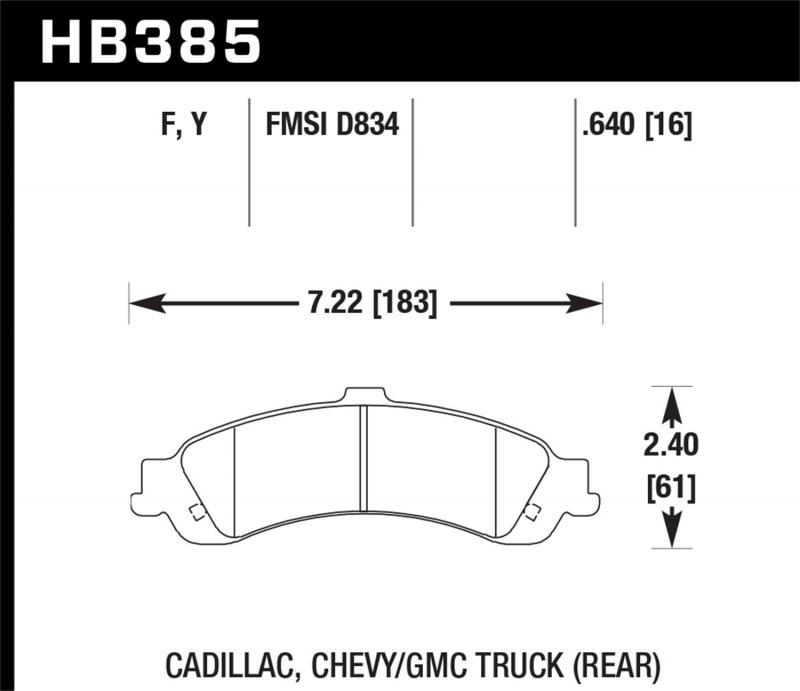 Hawk Performance Disc Brake Pad Rear - HB385F.640
