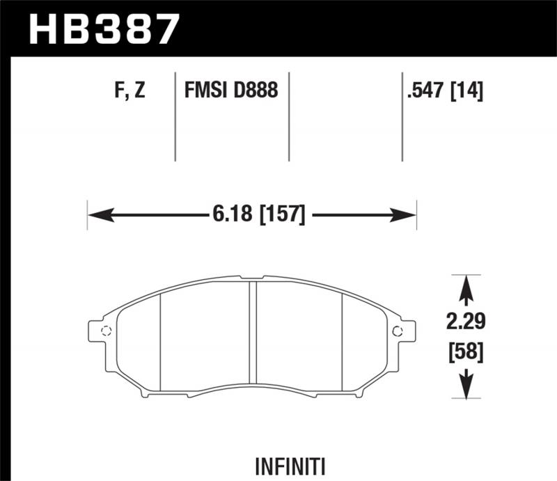 Hawk Performance Disc Brake Pad Front - HB387F.547