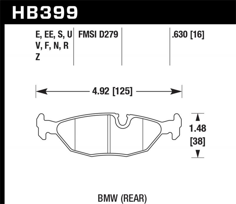 Hawk Performance Disc Brake Pad BMW Rear - HB399F.630