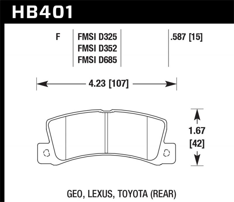 Hawk Performance Disc Brake Pad Rear - HB401F.587