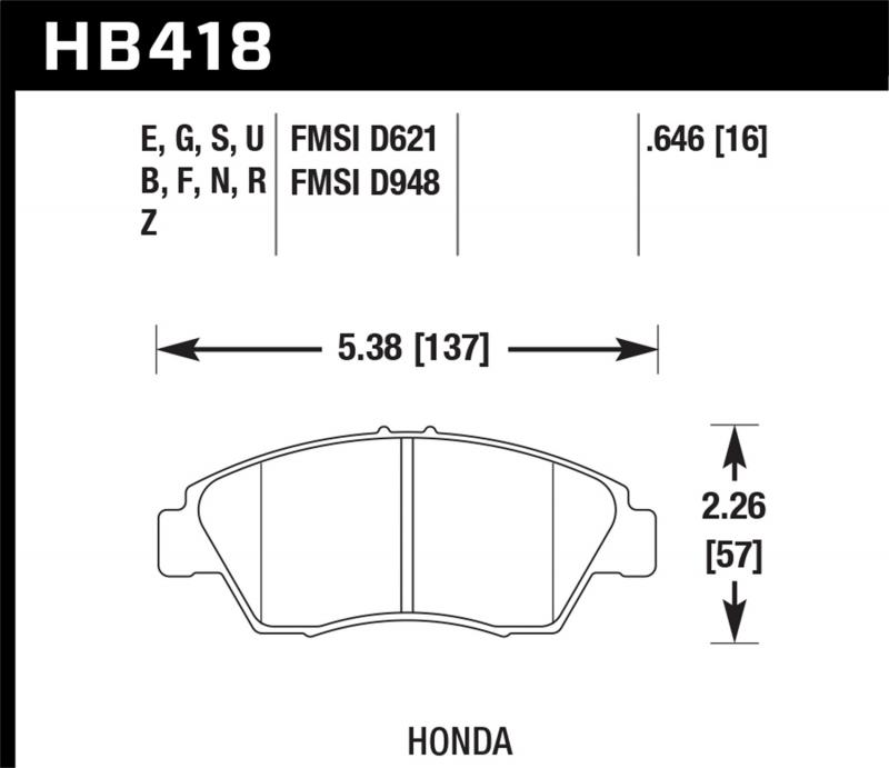 Hawk Performance Disc Brake Pad Front - HB418N.646