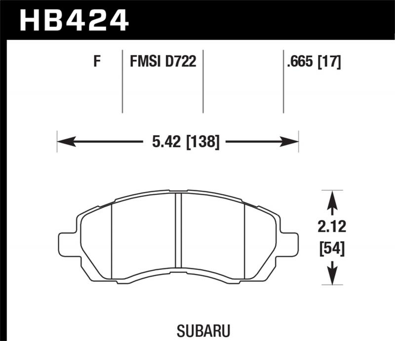 Hawk Performance Disc Brake Pad Subaru Front - HB424F.665
