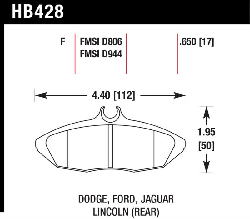 Hawk Performance Disc Brake Pad Rear - HB428F.650
