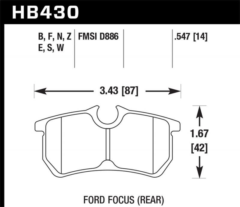 Hawk Performance Disc Brake Pad Ford Rear - HB430F.547