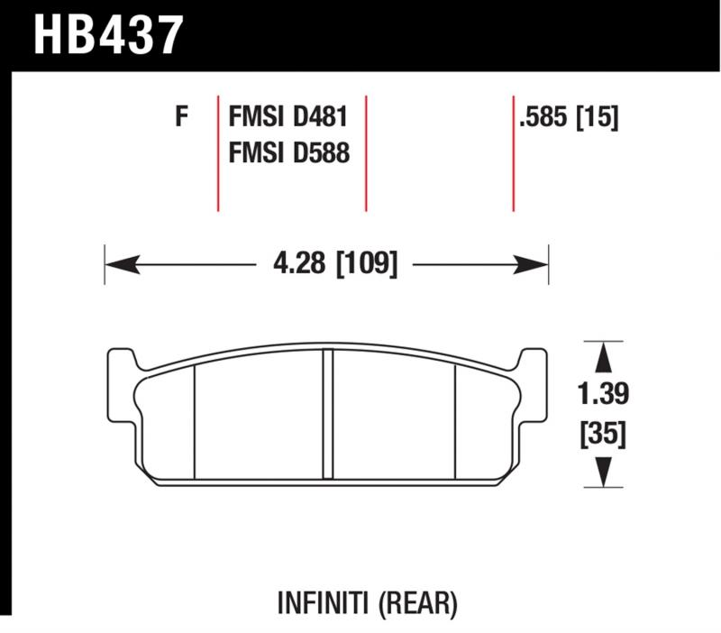 Hawk Performance Disc Brake Pad Infiniti Q45 Rear 2002-2005 - HB437F.585