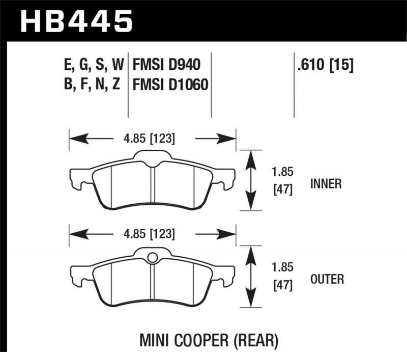 Hawk Performance Disc Brake Pad Mini Cooper S Rear 2002-2009 - HB445F.610