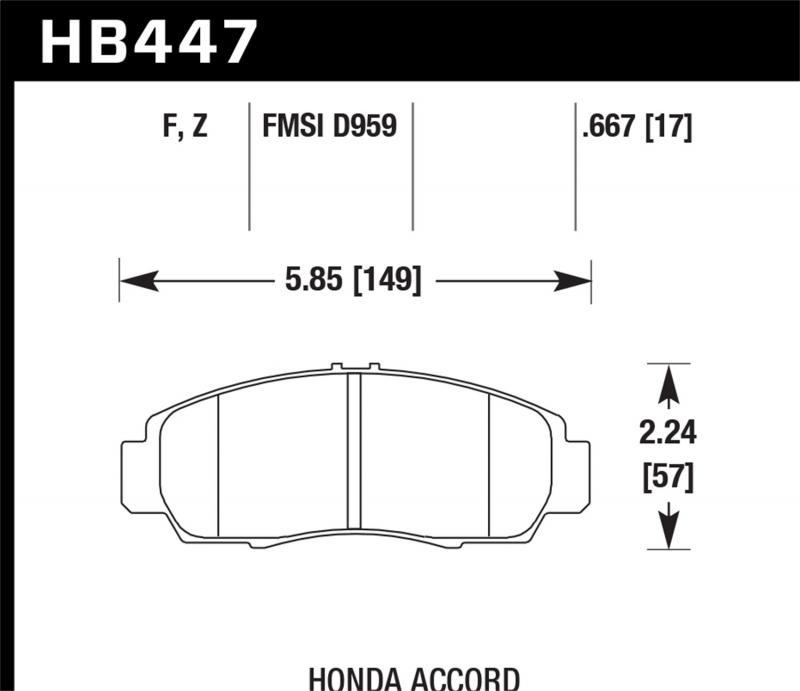 Hawk Performance Disc Brake Pad Honda Front - HB447F.667