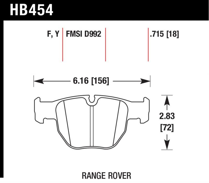Hawk Performance Disc Brake Pad Land Rover Range Rover Front 2003-2005 - HB454F.715