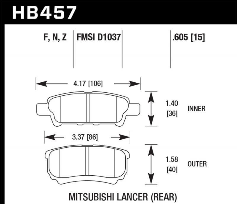 Hawk Performance Disc Brake Pad Rear - HB457F.605