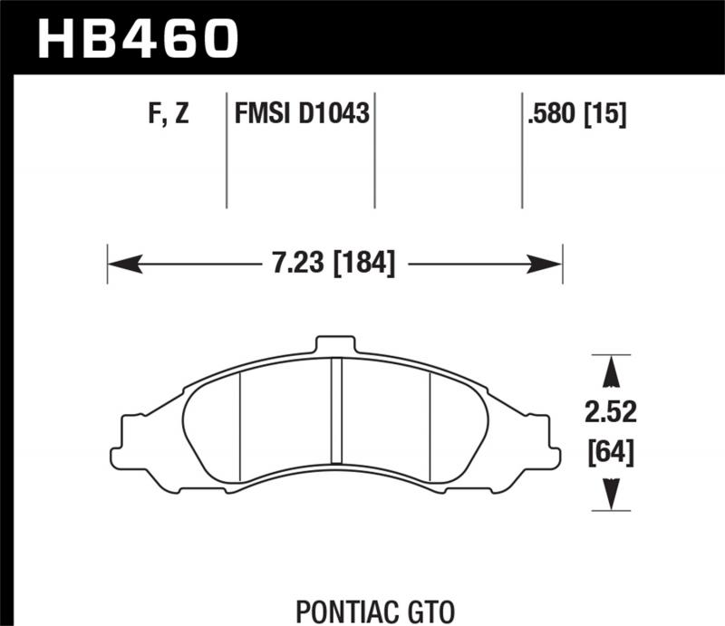 Hawk Performance Disc Brake Pad Pontiac GTO Front 2004 - HB460F.580