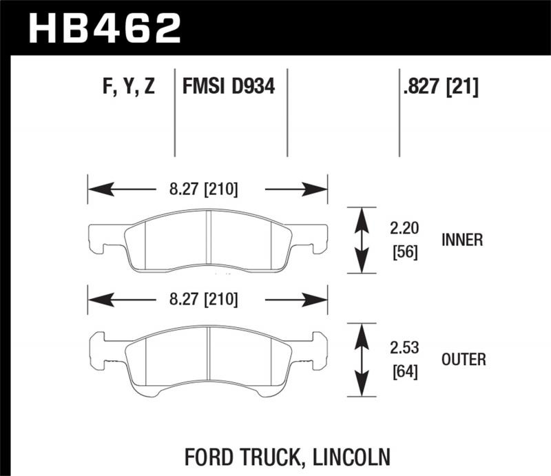 Hawk Performance Disc Brake Pad Front - HB462F.827