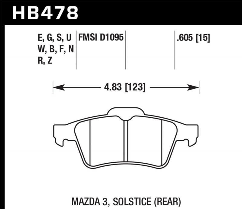 Hawk Performance Disc Brake Pad Rear - HB478F.605