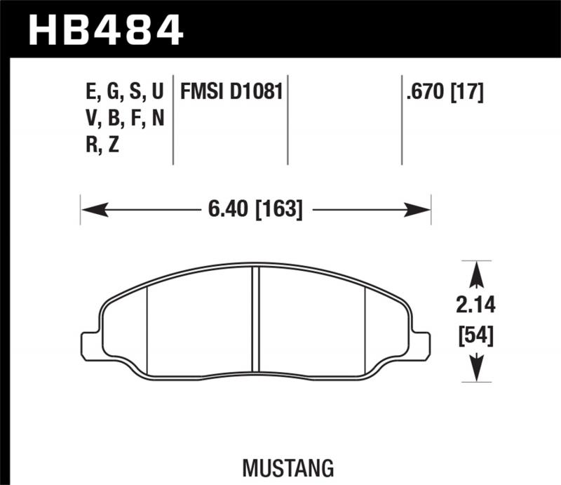 Hawk Performance Disc Brake Pad Ford Mustang Front 2005-2014 - HB484F.670