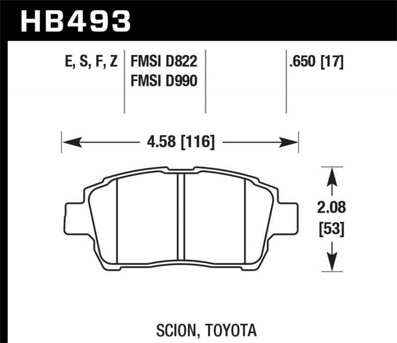 Hawk Performance Disc Brake Pad Front - HB493F.650