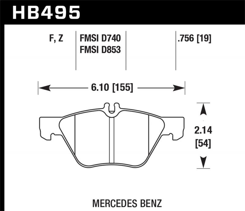 Hawk Performance Disc Brake Pad Mercedes-Benz Front - HB495F.756
